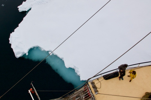 1. If you're going to try to describe the High Arctic, begin in the middle. Start with the pack ice. Its slow, flat movement. Its turquoise depth. How strange it is to stand on an island drifting in the current. How the pack ice waited until we had a brief electrical failure to close around the ship for twelve hours, at the far northwest edge of Svalbard, closer to the North Pole than any human town. We were confident and giddy in the midnight sun. We danced on the deck. We took up smoking. We led a fencing clinic. We played dice with gummies as currency. #arcticcircleresidency #svalbard